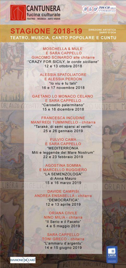 Calendario Greco.Cantunera Fucina Culturalecalendario Stagione 2018 19